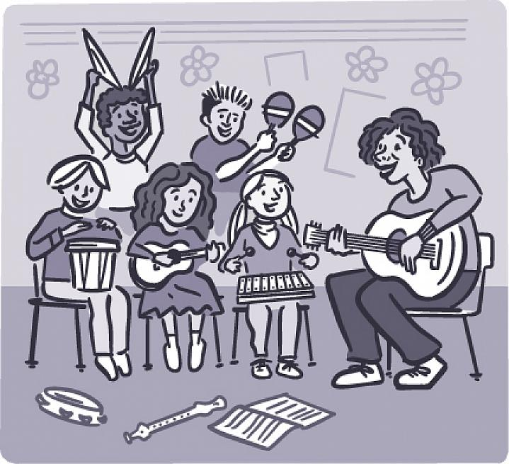 Illustration of children playing music in a classroom