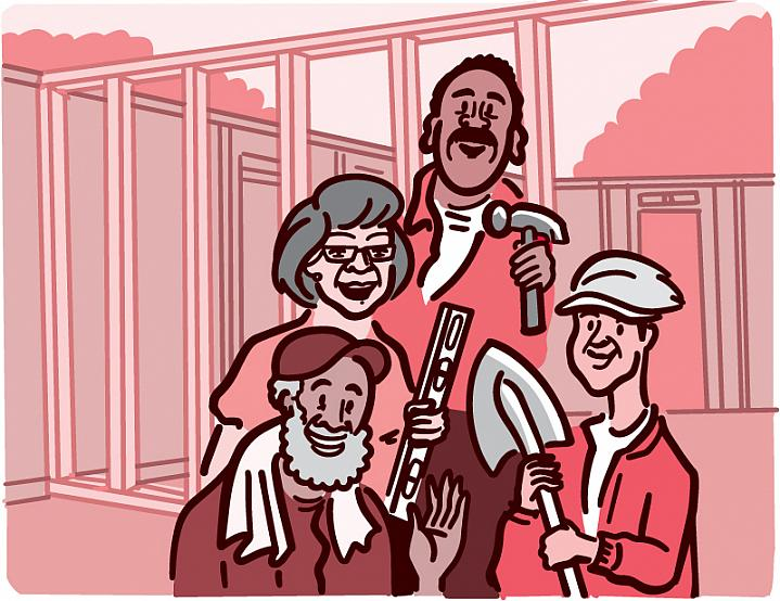 Illustration of older adults who volunteer to build a house