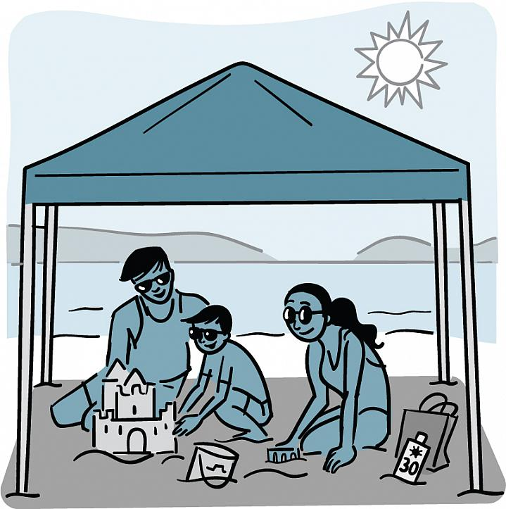 Illustration of a family under the shade of an awning on the beach.