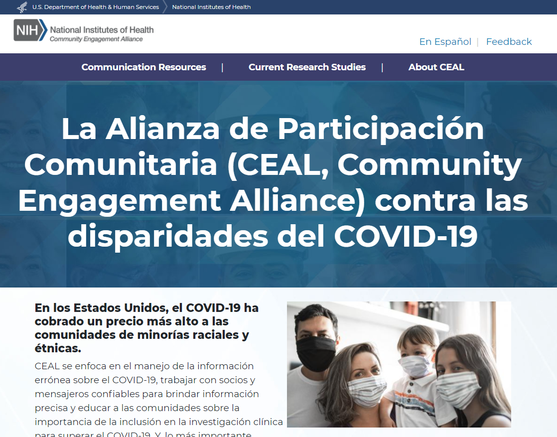 Screencapture of NIH COVID-19 Spanish resources website.